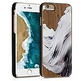kwmobile Coque Apple iPhone 6 / 6S - Étui de Protection Rigide en Bois pour Apple iPhone 6 / 6S - Gris Clair-Gris foncé-Marron