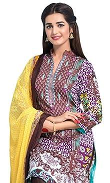 c324341dcd Surkhab Impression Women's Original Pakistani Pure Lawn Cotton Embroidered  Unstitched Salwar Suit Dress Material