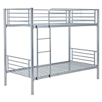 Mecor 3FT Single Metal Bunk Bed Frame For 2 Person Twins Modern Bedroom Bed Silver