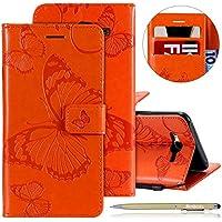 Herbests Leder Handy Schutzhülle für Samsung Galaxy J7 2015 Lederhülle Schmetterling Muster Leder Handyhülle Handytasche Brieftasche Ledertasche Bookstyle Flip Case Cover Klapphülle,Orange
