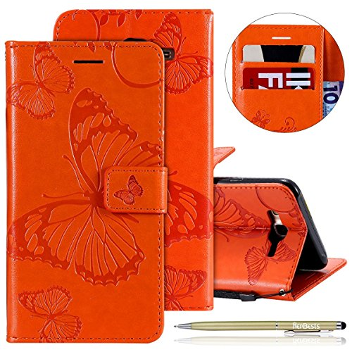 Kompatibel mit Leder Handy Schutzhülle Galaxy J7 2015 Lederhülle Schmetterling Muster Leder Handyhülle Handytasche Brieftasche Ledertasche Bookstyle Flip Case Cover Klapphülle,Orange