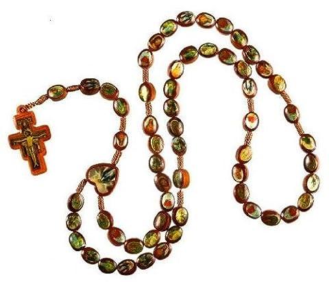Icône et Saints. Cordon Corde chapelet en bois Marron. Chapelet. Chapelet Bois. Chapelet pape Francis. frnciscan. Croix Crucifix de San Damiano. Chapelet en bois marron.