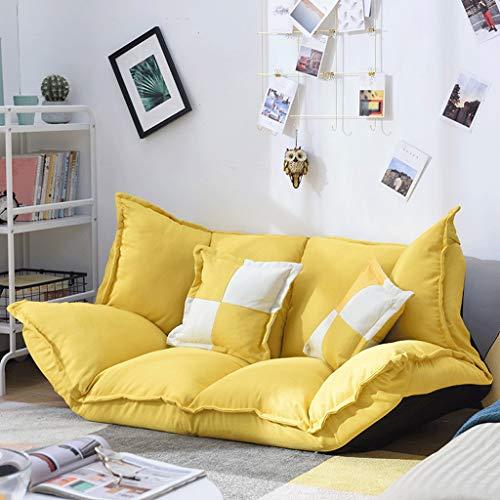 TFT Sofá Cama Multifuncional Plegable, Dormitorio Tatami, sillón Perezoso (Color : Amarillo)