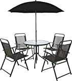 4 Seater Outdoor Garden Furniture Dining Set Round Table & Chairs with Parasol
