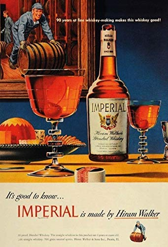HNNT Aluminum Metal Sign 12x16 INCHES Metal Tin Sign Imperial Blended Whiskey Vintage Look Custom Vintage Retro Aluminum Sign for Wall Decor