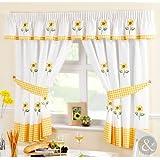 Just Contempo - Juego de cortinas para cocina, diseño de girasol, color amarillo, verde y crema, poliéster, amarillo, verde, crema, par de cortinas 1,17 x1,37 m