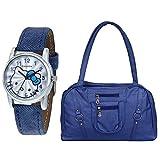 Danzen Women's Handbag With Watch (Blue,...