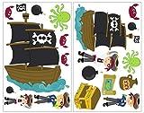 Samunshi® 19-teiliges Piraten Wandtattoo Set Schatzkarte Piratenschiff in 5 Größen (2x16x26cm Mehrfarbig)