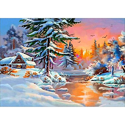 DIY 5D Diamond Painting, Crystal Rhinestone Embroidery Pictures Arts Craft for Home Wall Decor Winter Border Cottage 11.8 x 15.7 (Crafts Arts Winter And)
