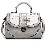 Xinmaoyuan Borse donna retrò Stampa borsa Messenger Bag sacca quadrato piccolo sacchetto,grigio