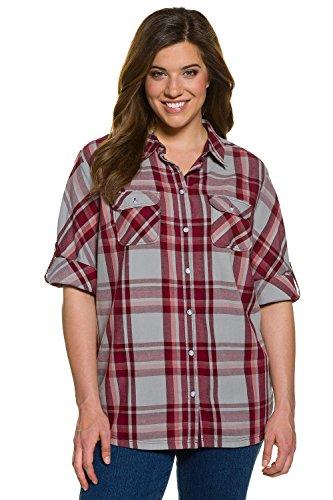 Ulla Popken Femme Grandes tailles Chemise à carreaux 707360 Bordeaux