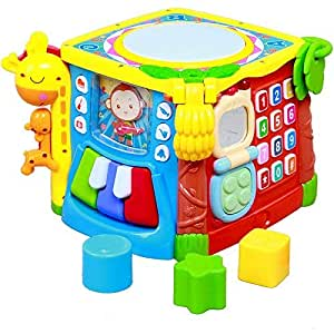 Techhark 5 in 1 Learning Cube Educational Activity Toy with Shapes Sorter, Piano, Key, Mirror for Kids (5 in 1 cube)