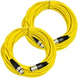 Seismic Audio Pair Of Yellow 50' XLR Male To Female Microphone Patch Cables Yellow - SAXLX-50Yellow-2Pack
