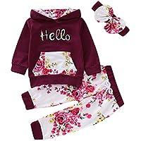 Haokaini 3pcs / Set Baby Girls Hello Floral Sudadera con Capucha Camisa Pantalones Traje Solar para bebés y niños pequeños