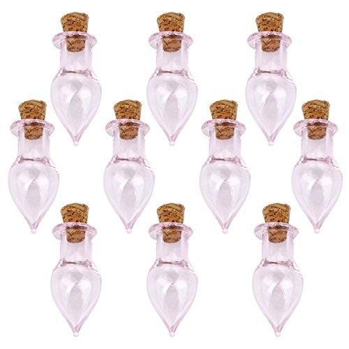 VORCOOL 10 stücke Waterdrop Form Mini Glasflaschen Gläser mit Kork Wunsch Hinweis Handwerk Flasche (klar)