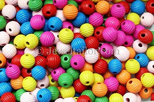 JEWELTAILOR NEW! 100 Mixed Large Hole Children's Round Wooden Beehive Beads 14mm + FREE Guide ~ Ideal For Boys & Girls Craft Activities & Parties -