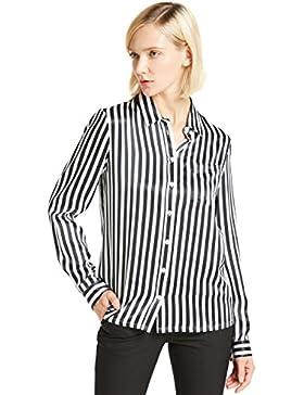 LILYSILK Camisa Mujer de Seda Natural Rayas Negras y Blancas
