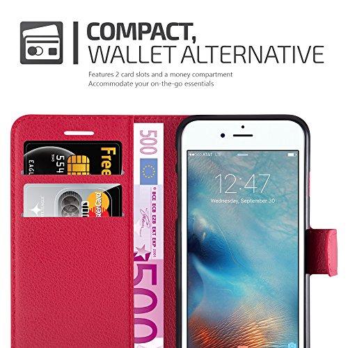 Apple iPhone 8 / 7 / 7S Hülle in SCHWARZ von Cadorabo - Handy-Hülle mit Karten-Fach und Standfunktion für iPhone 8 / 7 / 7S Case Cover Schutz-hülle Etui Tasche Book Klapp Style in PHANTOM-SCHWARZ KARMIN-ROT