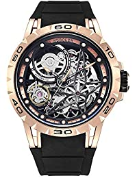 f40efc8ea59 Huboler - Reloj de Pulsera mecánico automático de Acero Inoxidable con Esqueleto  para Hombre