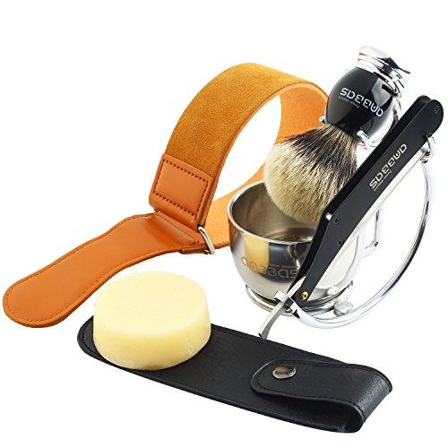 Rasierset mit schale Luxus Geschenkideen für männer Dachshaar silberspitz Rasierpinsel mit und Rasiermesser Solingen Pinselhalte Riemen Rasierseife für Einsteiger