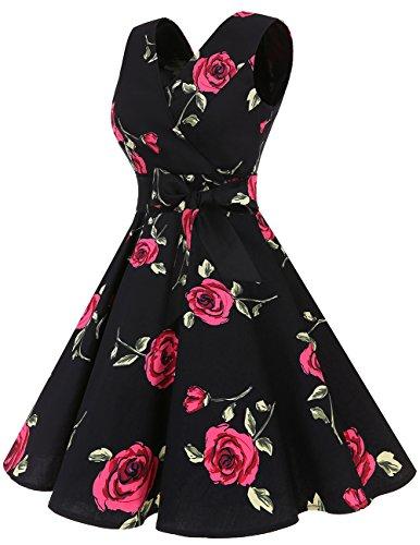Dresstells 1950er Vintage Retro Rockabilly Kleid Ärmellos Festliches Partykleid Cocktailkleider Red Flower