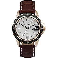 Zeiger Classical Men Watch Roman Numerals Date Watch Waterproof Genuine Brown Leather Band Watch for Man with High Quality Mens Watch Box (Brown W314)