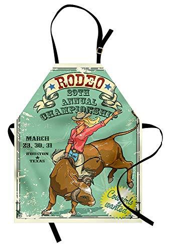 Retro Schürze, Rodeo-Cowgirl auf dem Stier Jährliche Meisterschaft Vintage Poster Muster Grunge Design, Unisex-Küche Latzschürze mit verstellbarem Hals zum Kochen Backen Gartenarbeit, Mehrfarben