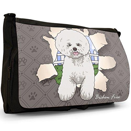 Spezzare cani grande borsa a tracolla Messenger Tela Nera, scuola/Borsa Per Laptop Bichon Frise Breaking Through