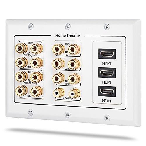 Fosmon [3-Gang 7.2 Surround Sound] Heimkino-Wandplatten Vergoldet Kupfer-Banane Bindung Pfosten Coupler Typ Wandplatte für 7 Lautsprecher und 2 RCA Buchse für Subwoofer & 3 HDMI Ports (Weiß) (Front-lautsprecher-heimkino)