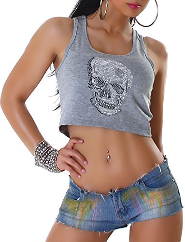 Voyelles Donne camicia della parte superiore Top bustier con Skull da strass rotonde del collo 34,38,40,42 Grigio