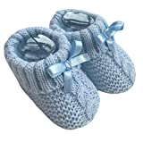 Nursery Time Baby Boys Girls 1 Pair Knitted Booties Soft Newborn Knitted Booties with Bow 116-354