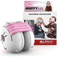Alpine Baby Muffy Casque Anti bruit bébé Protection Auditive pour bebe et tout-petits - Casque antibruit jusqu'à 36 mois - Améliore le sommeil pendant les déplacements - réglable et confortable – Rosa