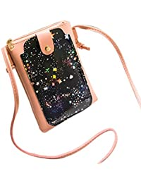 Women Starry Sky Print Flap Bag Crossbody Bag Messenger Bag Shoulder Bag Phone Bag Coin Bag (Pink)
