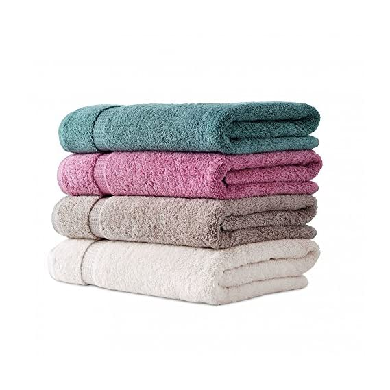 Fresh From Loom 450 GSM Cotton Bath Towel, Multicolour - Set of 4