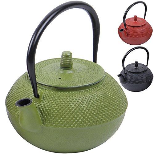 Deuba® Teekessel Teekanne Gusseisen 1250 ml Grün Asiatische Teekanne ✔Japanischer Stil ✔inkl. Edelstahl Teesieb ✔mit praktischem Henkel