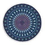 CHIYEEE Runde Strandtuch Böhmen Quaste Strand Yoga Matten Schal Schal Tapestry Tischdecke Picknickdecke Schal 150cm*150cm (59