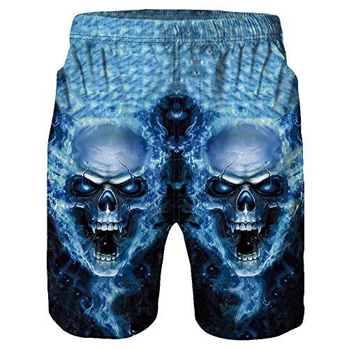 Black Skull Jeans (IZHH Herren Badehose,Freizeit Beachshorts Kurze Hosen Schnelltrocknend Casual 3D Skull Printed Beach Work Casual Shorts Hosen SchäDel Print Shorts Strandhosen Beachvolleyball-Shorts(Blau,M))