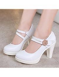 Jqdyl Tacones Boca baja Zapatos Cheongsam Primavera Otoño Grueso con Hebilla con Hembra, Blanco 8 Cm, 32