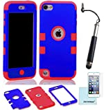iPod Touch 5th 6th Generation Case, iPod Touch 5/6 Case Genuine ZAFOORAH Hybrid Shockproof Hard Defender 3 Layers with 3 Bonus items Stylus, Screen Protector, Microfiber Cloth (Double Clip - 3 Layers - Dark Blue/Red)