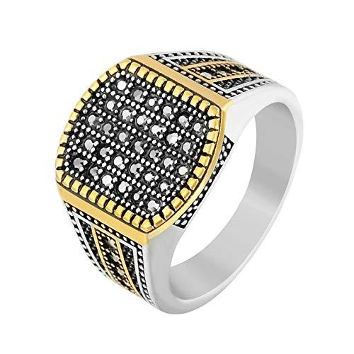 Daesar Edelstahl Herren Ring Edelstahlring Gold Geometrie Zirkonia Breit 14 MM Partnerring Freundschaftsring Ring Gr.57 (18.1) (Fallen Lego Titan)