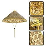 Gugutogo Chinesische Sonnenhut Krempe Bambus Strohhut Tourismus Bauer Unisex Angeln Hut (Farbe: Bambus Farbe)
