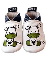 C2BB - Chaussons bebe cuir souple garçon   Bébé zèbre