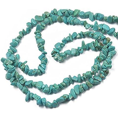 Filo Di Gemma Turchese Perline Pietre Verde Multi Forme 34 pollici