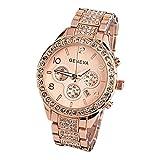 MISSWongg_Reloj Mujeres Cuarzo Watches, Cuarzo de Cristal de Lujo de Moda Incrustaciones de Diamante Movimiento Cuarzo Bisel Acero Inoxidable Resistente Agua Regalo Reloj Mujer Lotus