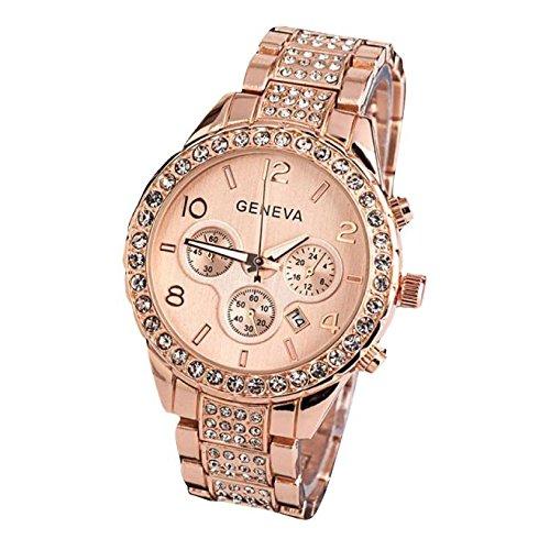 Damen Armbanduhr Traumzimmer Geneva Women Fashion Luxury Crystal Quartz Watch Quarz Analog Digital Klassisch Flach Wasserdicht Quarzuhr Clock Casual Uhren Cluse Armband (Roségold) (Rose Gold Luxus-uhr Genf)