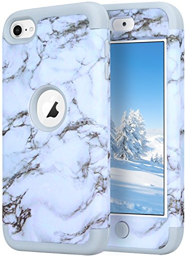 KZONO iPod Touch 5Fall, iPod Touch 6Fall, Heavy Duty High Impact Armor Schutzhülle 2in1Soft Shell Schutzhülle für Apple iPod Touch 56. Generation, Pattern-Marble/Grey (High Impact Hybrid-ipod 5 Fällen)
