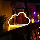LED Cloud Neon Light Signs - Night Lights Warm White Shine Neon Lights Wall Decor Battery and USB Power Indoor Lighting Bedside and Table Lamps for Living Room, Bedroom, Party, Christmas Wedding Birthday Gift