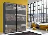 lifestyle4living Kleiderschrank in Graphit mit Absetzungen in Digitalprint, Schwebetüren-Schrank mit viel Stauraum im angesagten Look, 135 cm