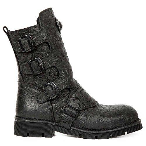 M.373X-S24 Gothic-Metal-Rock unisex barocke schwarze Stiefel mit Schnallen - 43 - New Rock
