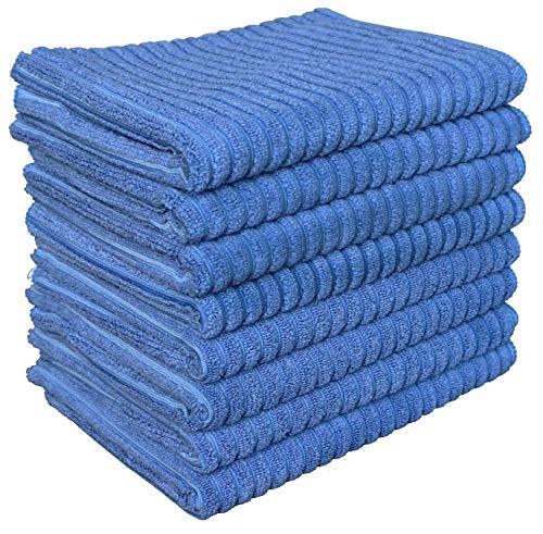 Gryeer 8er-Set Bambus-Mikrofaser Geschirrtücher, saugstark und dicke Küchentücher, einseitig gerippt einseitig glatt Trockentücher,45x65cm, Blau